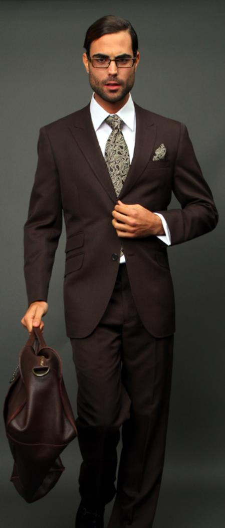 SKU#BWN102 Brown Slim Fit Super 150s 2pc Wool Suit Extra Fine Peak lapel Ticket pocket $175