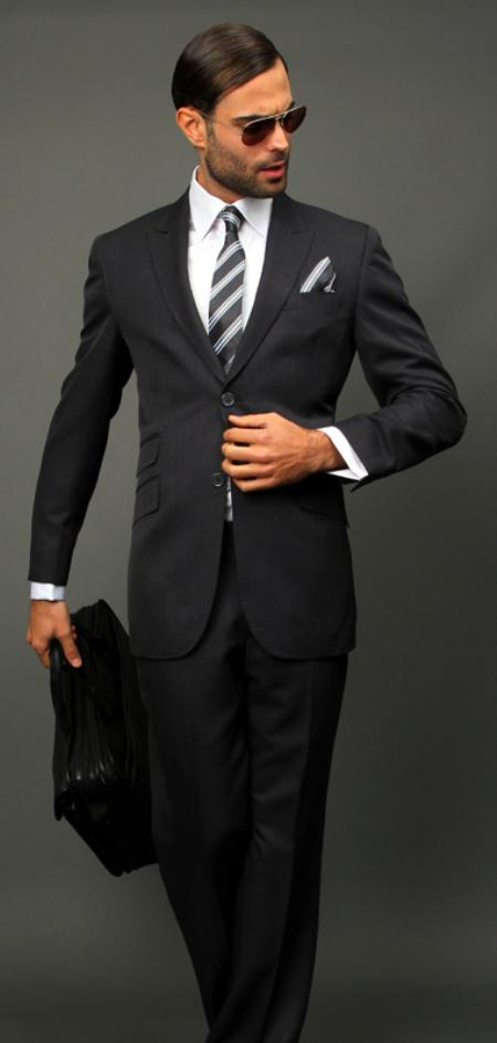 SKU#CHL711 Charcoal Slim Fit Super 150s 2pc Wool Suit Extra Fine Peak lapel Ticket pocket $175
