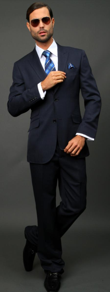 SKU#NVY599 Navy Slim Fit Super 150s 2pc Wool Suit Extra Fine Peak lapel Ticket pocket $175