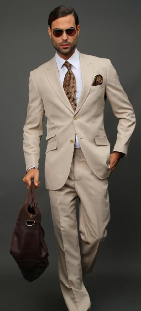 SKU#TAN9099 Tan Slim Fit Super 150s 2pc Wool Suit Extra Fine Peak lapel Ticket pocket $175