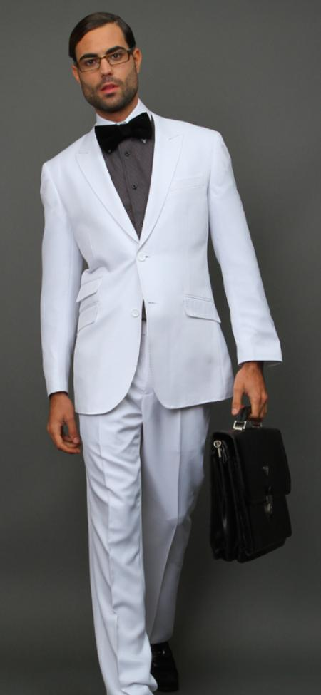 SKU#WHT111 White Slim Fit Super 150s 2pc Wool Suit Extra Fine Peak lapel Ticket pocket $175