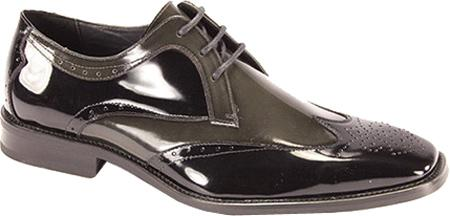 SKU#BGR901 Men's Black/Gray Polished Leather Shoes $99