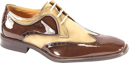 SKU#BEG881 Men's Chocolate Brown/Beige Polished Leather Shoes $99