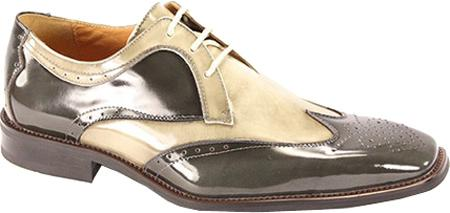 SKU#LGR712 Men's Gray/Light Gray Polished Leather Shoes $99