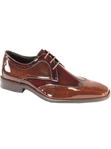 SKU#LBU8105 Men's Light Brown/Burgundy Polished Leather Shoes $99