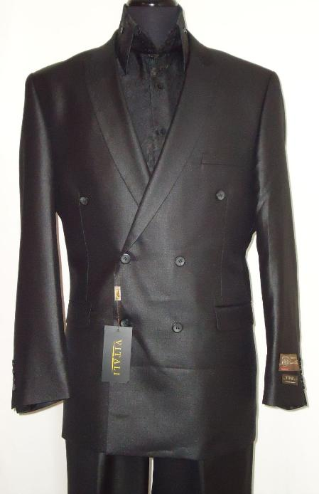 SKU#SHB9909 Mens Elegant Shiny Black Double Breasted Designer Sharkskin Suit $485