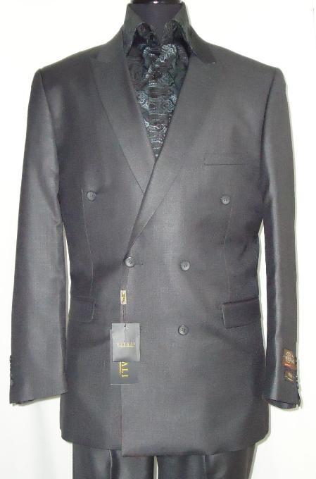 SKU#CHG5651 Mens Elegant Shiny Charcoal Gray Double Breasted Designer Sharkskin Suit $129