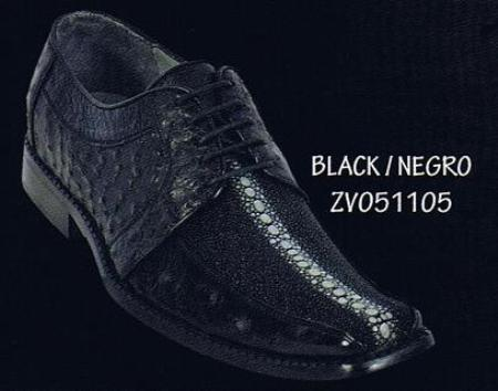 SKU#BLK891 Square Toe Full Rowstone Stingray Black Dress Shoes $369