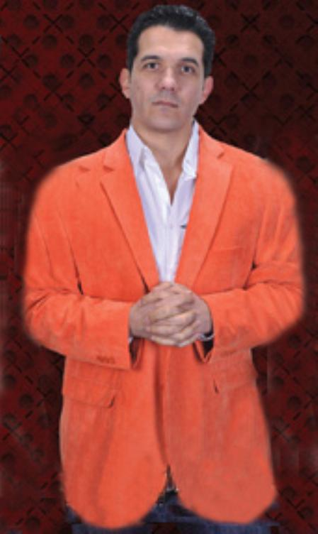 SKU#OGE2344 Mens Orange Cotton/Rayon 2 Button Sport Coat Notch Lapel Side Vents