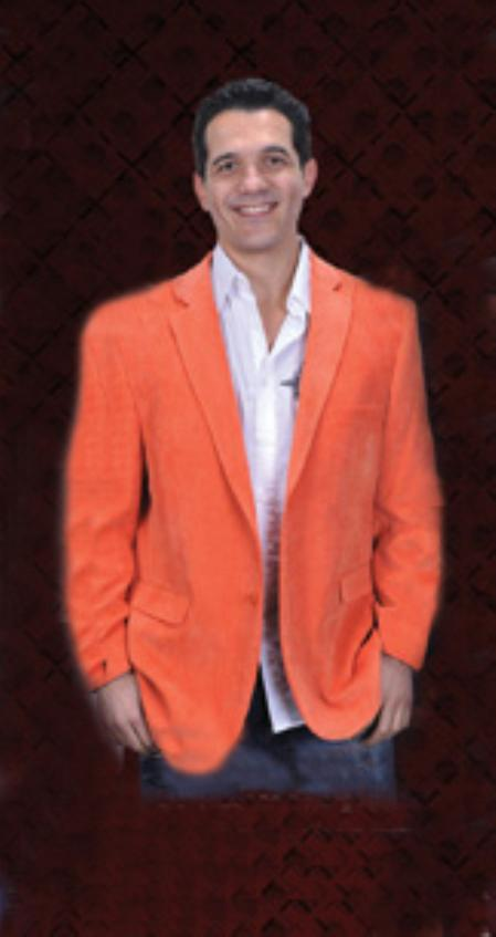 SKU#ONG9911 Mens Cotton/Rayon 2 Button Orange Sport Coat Notch Lapel Side Vents
