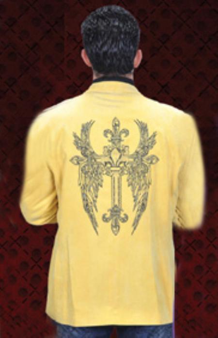 MensUSA Mens Corduroy 2 Button Yellow Sport Coat Notch Lapel Side Vents at Sears.com