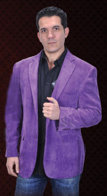 SKU#PUE3334 Mens Cotton/Rayon corduroy blazer/jacket 2 Button Purple Sport Coat Notch Lapel Side Vents