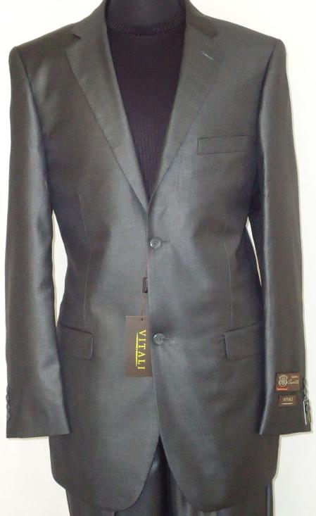 SKU#CGR6221 Mens Designer 2-Button Shiny Charcoal Gray Sharkskin Suit $189