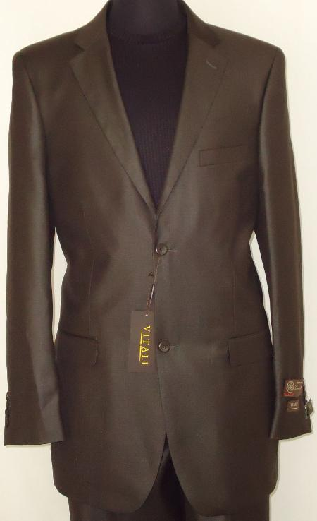 SKU#DBW7813 Mens Designer 2-Button Shiny Dark Brown Sharkskin Suit $189