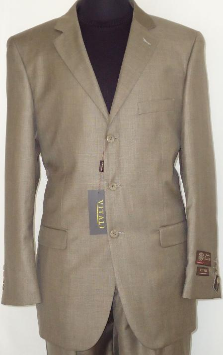 SKU#TUE8112 Mens Designer 2-Button Shiny Taupe Sharkskin Suit $189