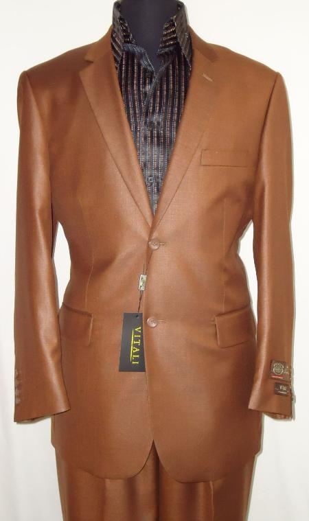 SKU#RST8113 Mens Designer 2-Button Shiny Rust ~ Peach Sharkskin Suit $189