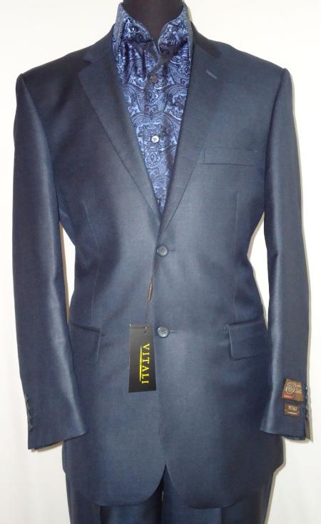 SKU#NAB7001 Mens Designer 2-Button Shiny Navy Blue Sharkskin Suit $189