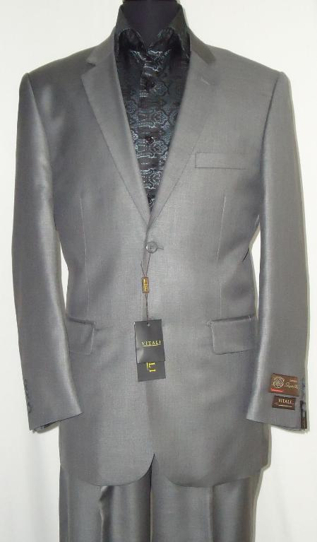 SKU#SLG8882 Mens Designer 2-Button Shiny Silver Gray Sharkskin Suit $225