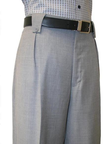 1940s Style Men's Pants and Trousers Pleated Wide Leg Pants Wool-feel Grey Mens TrousersSlacks Cheap $99.00 AT vintagedancer.com