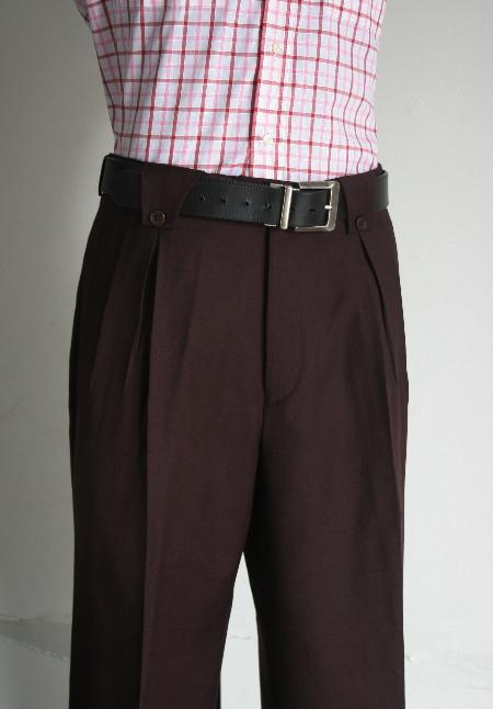 1940s Style Men's Pants and Trousers Pleated Wide Leg Pants Wool-feel Wine Mens TrousersSlacks Cheap $99.00 AT vintagedancer.com