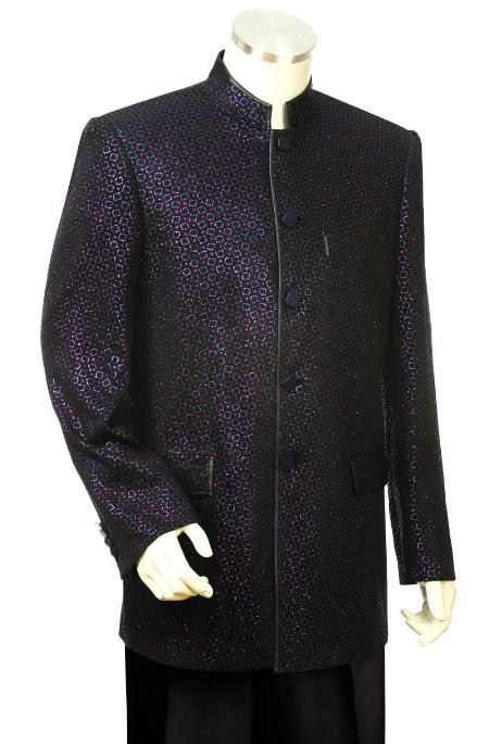 SKU#OBL1932 Mens Unique Nehru Styled Suit - Metallic Finish Black/Orange $131