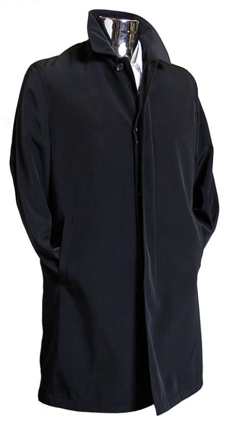 SKU#BLK2893 Mens Black 3/4 Raincoat Trench Coat / Trenchcoat