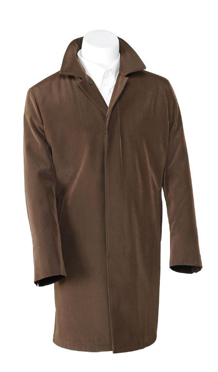 SKU#BWNi8135 Mens Brown 3/4 Raincoat Trench coat / Trenchcoat $189