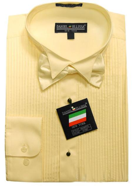 SKU#TUX8811 Ivory Yellow Tuxedo Dress Shirt with Bowtie & Studs