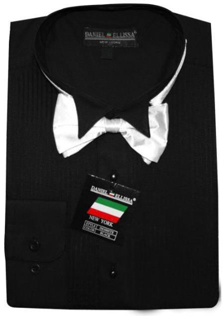 SKU#BTUX821 Black Tuxedo Shirt with Bowtie & Studs $39