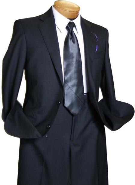 SKU#TBL8113 Mens Black 2 Button Wool Italian Design Suit $295