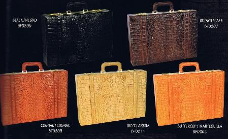 SKU#ETV2912 caiman ~ alligator Executive Briefcase in Black, Brown, Oryx, Cognac & Buttercup $879