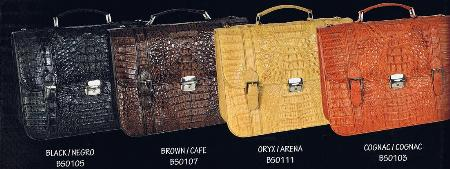 SKU#CMP9132 caiman ~ alligator Briefcase in Black, Brown, Oryx & Cognac $829