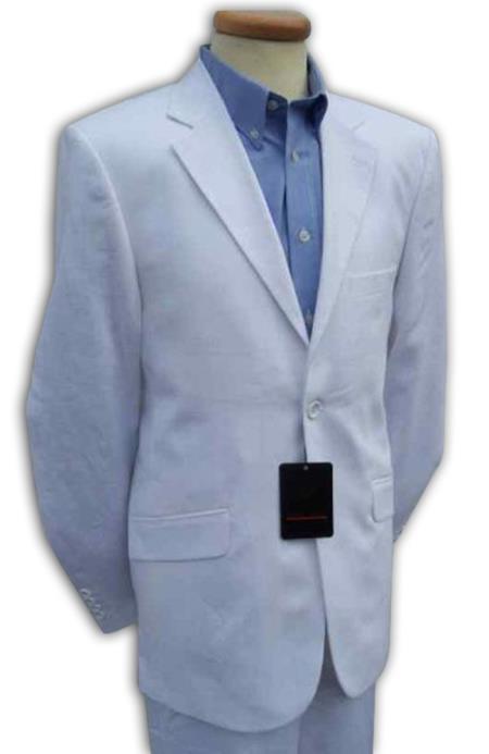 SKU#WHT812 Mens White Linen Designer Wedding Dress Suit $139