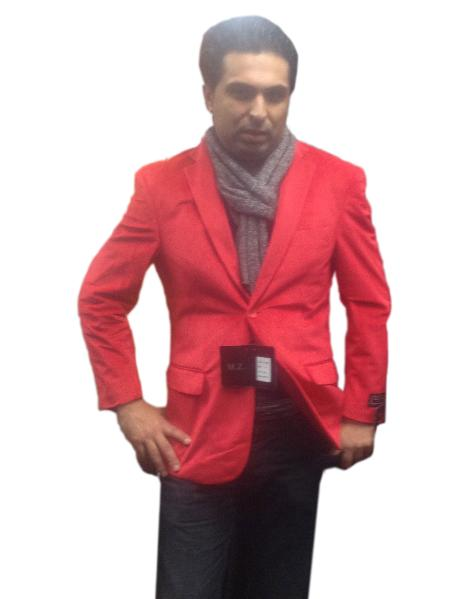 SKU#RED7293 Mens 2 button Notch Collar Single-Breasted Fully Lined Velvet ~ Velour Blazer Red $139