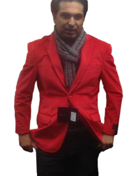 SKU#RDE9245 Mens 2 button Notch Collar Single-Breasted Fully Lined Velvet ~ Velour Blazer Red