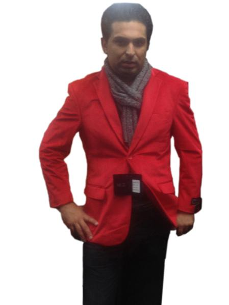 SKU#GHT6023 Mens 2 button Notch Collar Single-Breasted Fully Lined Velvet ~ Velour Blazer Red $139