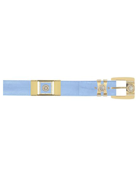 SKU#BAB4443 Baby Blue Genuine Eel With Rhinestone / Gold Plated Brackets Belt
