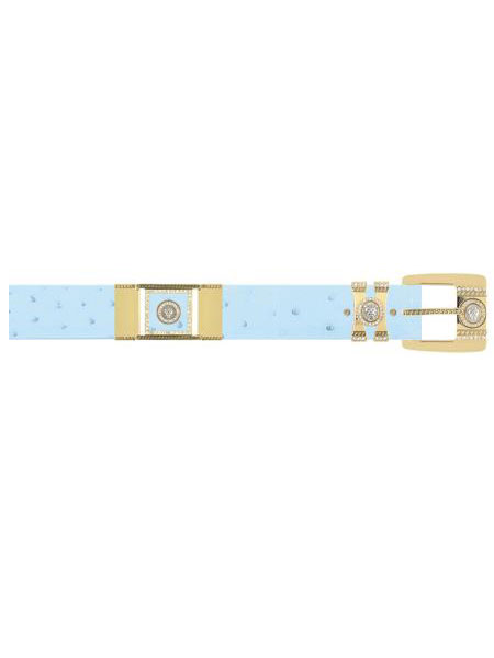 SKU#BLUE821 Baby Blue Genuine Ostrich With Rhinestone / Gold Plated Brackets Belt $169