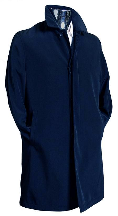 SKU#NVY8011 Mens Navy 3/4 Raincoat Trench Coat / Trenchcoat $189