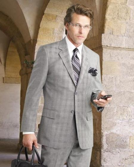 SKU#GRY8221 2 Btn Flat Front Pants Plaid, Side Vents, Super 150s Pick Stitch Suit $295
