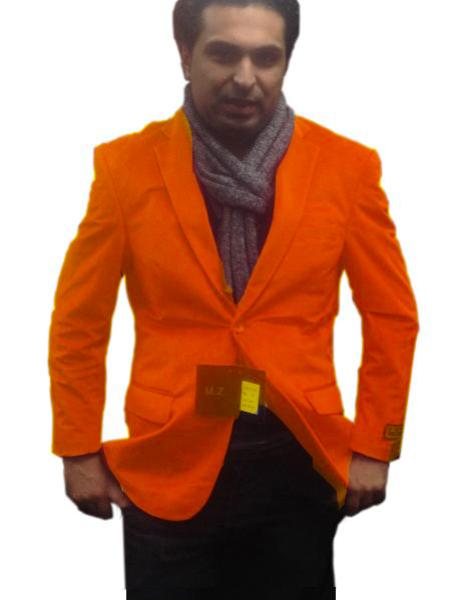 SKU#ORG6661 Mens 2 Btn Notch Collar Single-Breasted Fully Lined Velvet ~ Velour Blazer Orange $99
