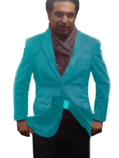 SKU#TUR5551 2 Btn Notch Collar Single-Breasted Fully Lined Velvet ~ Velour Blazer turquoise ~ Light Blue Colored $99