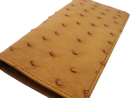SKU#CGC7667 Ostrich Checkbook - Cognac