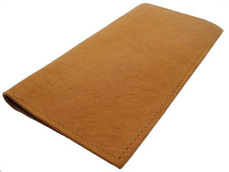 SKU#CGN5656 Ostrich Checkbook - Cognac, Smooth Ostrich Leather