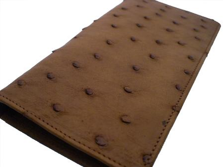 SKU#TRB7631 Ostrich Checkbook - Kango Tabac $175