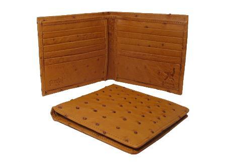 SKU#CNA7912 Ostrich Wallet - Cognac Hipster $220