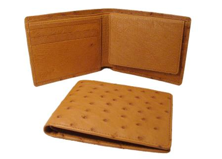 SKU#GZA8919 Ostrich Wallet - Cognac ID Holder Bifold $175