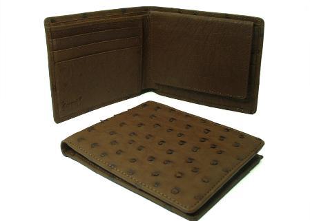 SKU#GNK7891 Ostrich Wallet - Kango Tabac ID Holder Bifold $220
