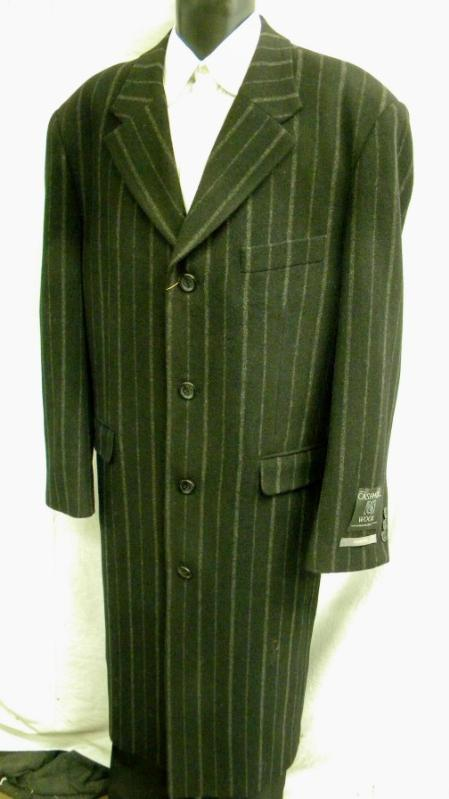 MensUSA Mens Black Chalk Stripe Cashmere Blend Overcoat at Sears.com