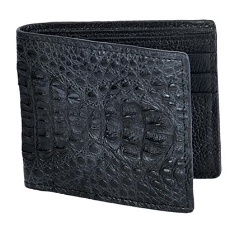 SKU#CRB8011 Wallet ~ billetera ~ CARTERAS Black Genuine Crocodile Card Holder Wallet